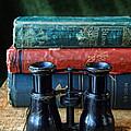 Vintage Binoculars And Books by Jill Battaglia