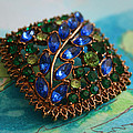 Vintage Blue And Green Rhinestone Brooch On Watercolor by Kathy Clark