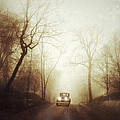 Vintage Car On Foggy Rural Road by Jill Battaglia