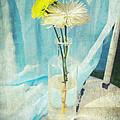 Vintage Flowers In A Bottle Vase Sunny Still Life Print by Svetlana Novikova