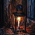 Vintage Lantern In A Barn by Jill Battaglia