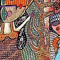 Vintage Mermaid And Wisdom Coral Angel by Sandra Silberzweig