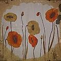 Vintage Red Poppies Painting by Georgeta  Blanaru