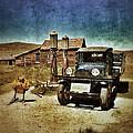 Vintage Vehicle At Vintage Gas Pumps by Jill Battaglia