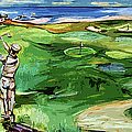 Vintge Golfer By The Sea by Ginette Callaway