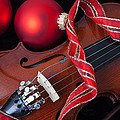 Violin And Red Ornaments by Garry Gay