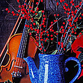 Violin With Blue Pot by Garry Gay