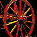 Wagon Wheel In Red by Rich Walter