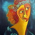 Waiting For Partner Orange Woman Blue Cubist Face Torso Tinted Hair Bold Eyes Neck Flower On Dress by Rachel Hershkovitz