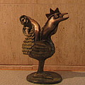 Wakeup Call Rooster Bronze Sculpture With Beak Feathers Tail Brass And Opaque Surface  by Rachel Hershkovitz