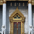 Wat Benchamabophit Ubosot Front Entrance Dthb1242 by Gerry Gantt