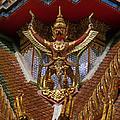 Wat Hua Lamphong Ubosot Roof Garuda Dthb1065 by Gerry Gantt