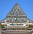 Wat Ratcha Orasaram Temple Gate And Ubosot Gable Dthb858 by Gerry Gantt