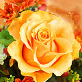 Water Color Yellow Rose With Orange Flower Accents by Elaine Plesser