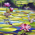 Water Lilies At Mckee Gardens II - Butterfly And Frog by Nancy Tilles