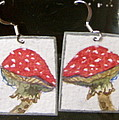 Watercolor Earrings Amanita by Beverley Harper Tinsley
