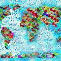 Watercolor Splashes World Map by Georgeta  Blanaru