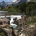 Waterfall At Many Glacier by Lorraine Devon Wilke