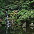 Waterfall - Portland Japanese Garden - Oregon by Daniel Hagerman