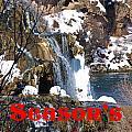 Waterfall Seasons Greeting by DeeLon Merritt