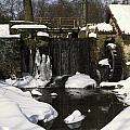 Waterwheel And Stream In Winter by Sally Weigand