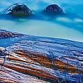 Waves Crashing On Rocky Shoreline by Mike Grandmailson