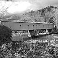 West Cornwall Connecticut Covered Bridge Black And White by Glenn Gordon