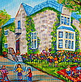 Westmount Birthday Party-montreal Urban Scene-little Girls Playing by Carole Spandau