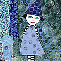 Whimsical Blue Girl Mixed Media Collage  by Karen Pappert