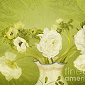 White Anemonies And Ranunculus On Green by Susan Gary