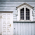 White Doors And Window On Bluish Wooden Wall by Agnieszka Kubica