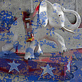 White Elephant Ride Abstract by Garry Gay