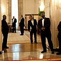 White House Butlers Watch As President by Everett