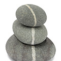 White Quartz Veins In Pebbles Link Stack Of Three by Rosemary Calvert
