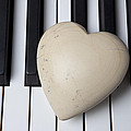 White Stone Heart On Piano Keys by Garry Gay