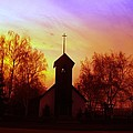 White Swan Church In The Sunset by Jeff Swan