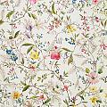 Wild Flowers Design For Silk Material by William Kilburn