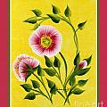 Wild Roses On Yellow With Borders by Barbara Griffin
