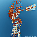 Windmill Rust Orange With Blue Sky by Rebecca Margraf