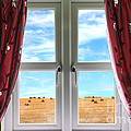 Window And Curtains With View Of Crops  by Simon Bratt Photography LRPS