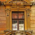 Window And Pediment In Ljubljana Slovenia by Greg Matchick