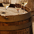 Wine Glasses On An Old Wine Barrel  by Michael Gray