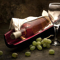 Wine With Grapes And Glass Still Life by Tom Mc Nemar