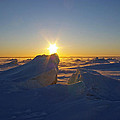 Winter Ice Ridge Churchill River Manitoba by Desmond Raymond
