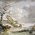 Winter Landscape With Men Snowballing An Old Woman by George Morland