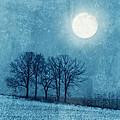 Winter Moon Over Farm Field by Jill Battaglia