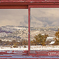 Winter Rocky Mountain Foothills Red Barn Picture Window Frame Ph by James BO Insogna