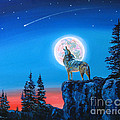 Winter Wolf Moon by David Lloyd Glover