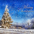 Wintry Christmas Tree Greeting Card by Lois Bryan