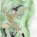 Witches Dance With Cats On Halloween by Doris Blessington